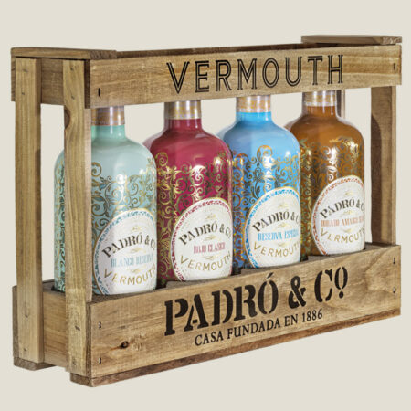 Caja de Madera con los 4 vermouths clásicos Padró & Co.
