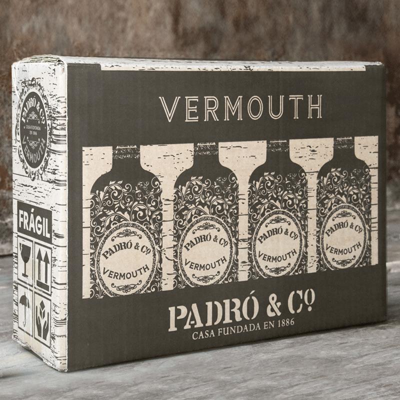 Caja de transporte para la caja de madera vintage de Vermouth Padró & Co.