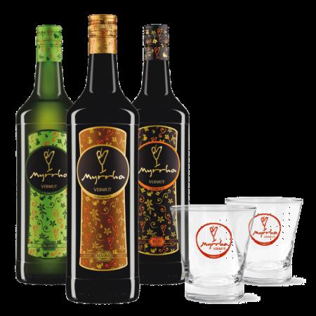 Pack de 3 Vermuts Myrrha con dos vasos